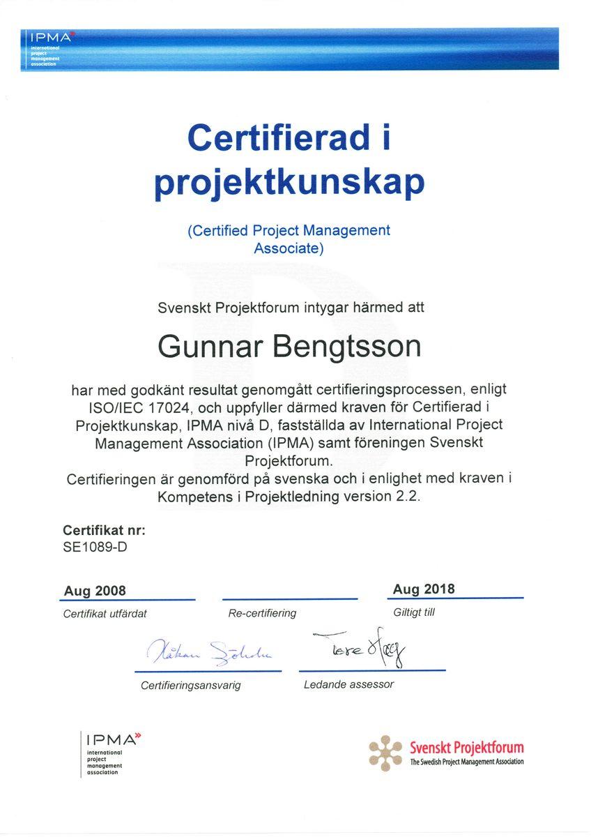 Certifikat IPMA Gunnar Bengtsson svenska